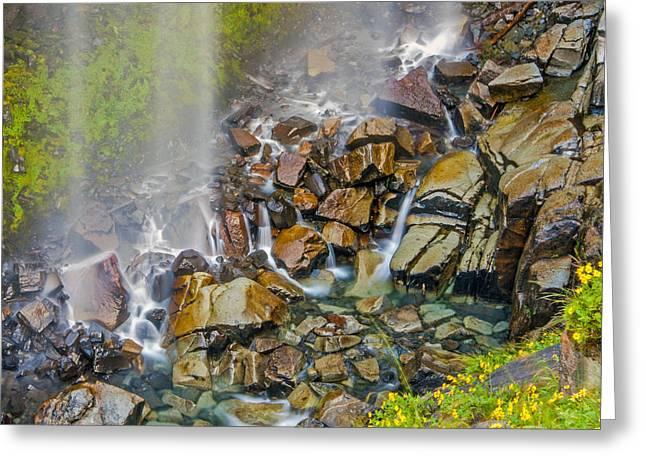 Narada Falls Mount Rainier National Park Greeting Card by Bob Noble Photography