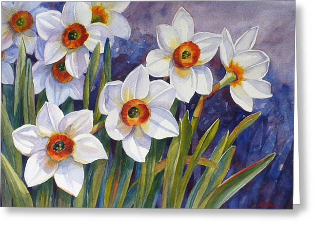 Narcissus Daffodil Flowers Greeting Card by Janet  Zeh