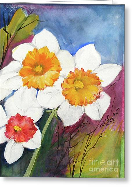 Narcissus Greeting Card by Sibby S