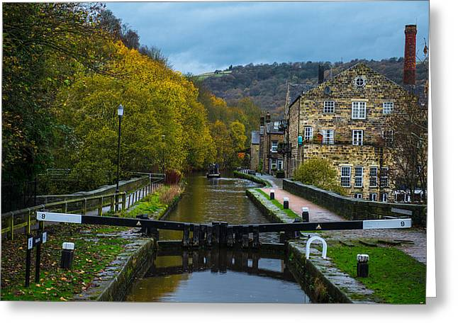 Greeting Card featuring the photograph Narrow Boat Heading Up The Canal In The Fall by Dennis Dame