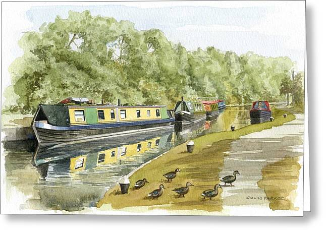 Narrow Boats On The Grand Union Canal Greeting Card