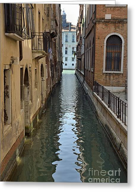 Narrow Canal In Venice Greeting Card by Sami Sarkis