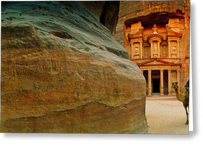 Narrow Passageway At Al Khazneh, Petra Greeting Card by Panoramic Images