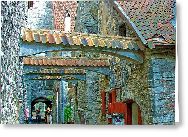Narrow Street In Old Town Tallinn-estonia Greeting Card by Ruth Hager