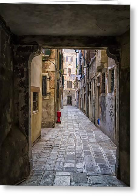 Narrow Street In Venice Greeting Card by Francesco Rizzato