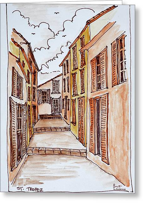 Narrow Streets In The Small Town Greeting Card