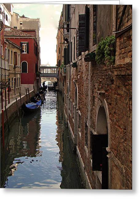 Greeting Card featuring the photograph Venice Narrow Waterway by Walter Fahmy