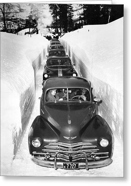 Narrow Winter Road Greeting Card by Underwood Archives