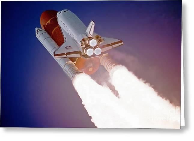 Nasa Atlantis Launch 3 Greeting Card by Rod Jones