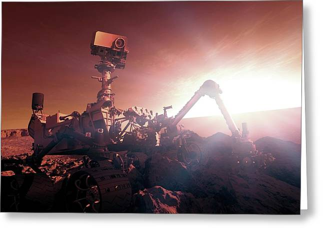 Nasa Curiosity Mars Rover Greeting Card by Nasa/detlev Van Ravenswaay