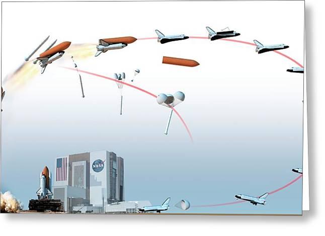 Nasa Space Shuttle Mission Flight Path Greeting Card by Dorling Kindersley/uig