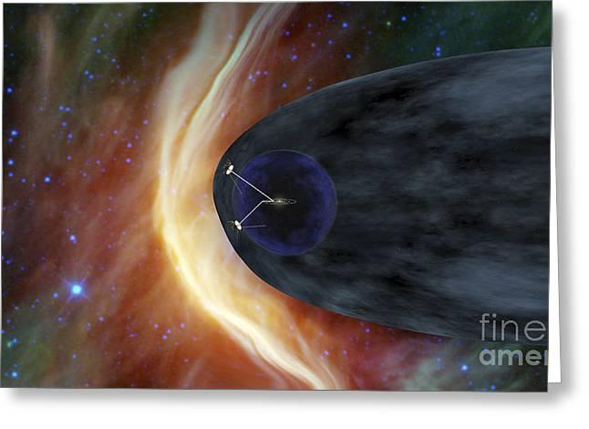 Nasas Two Voyager Spacecraft Exploring Greeting Card by Stocktrek Images
