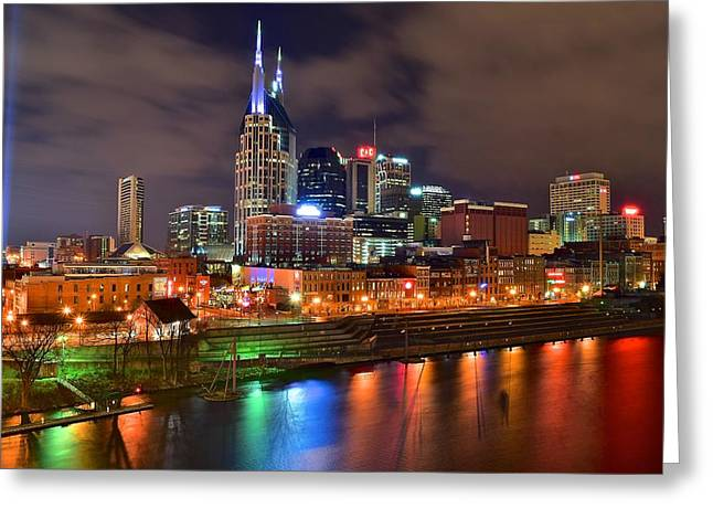 Nashville Night Greeting Card by Frozen in Time Fine Art Photography