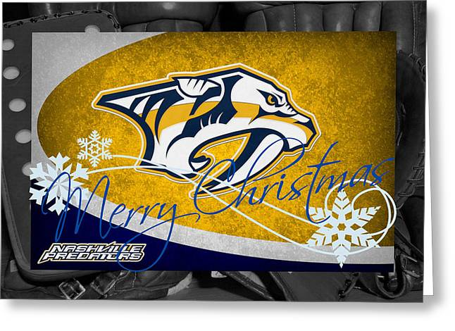 Nashville Predators Christmas Greeting Card by Joe Hamilton
