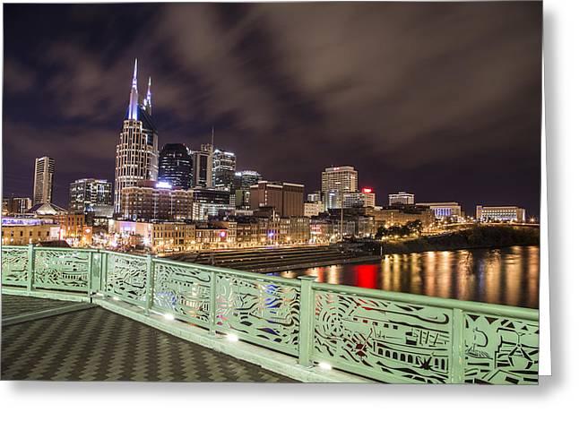 Nashville Skyline And Bridge Greeting Card by John McGraw