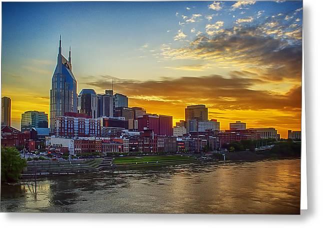 Nashville Skyline At Sunset Greeting Card by Dan Holland