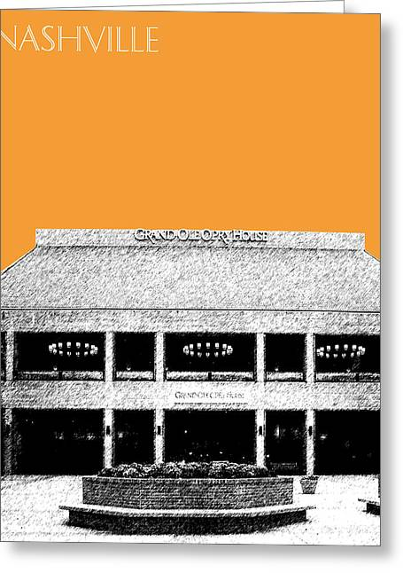 Nashville Skyline Grand Ole Opry - Orange Greeting Card by DB Artist