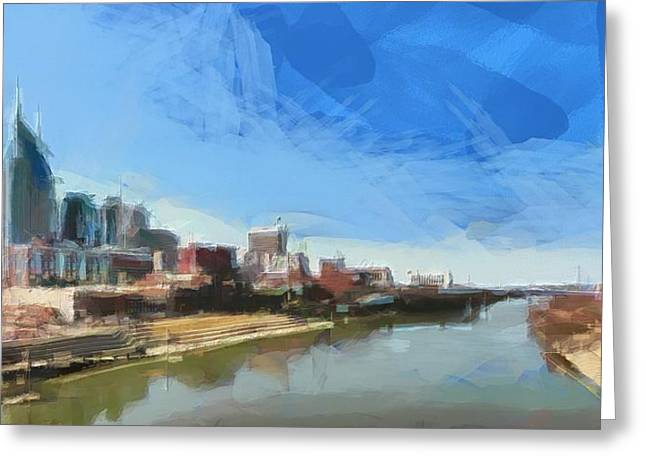 Nashville Skyline Panorama Greeting Card by Dan Sproul