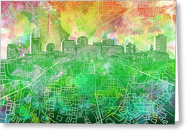 Nashville Skyline Watercolor 2 Greeting Card