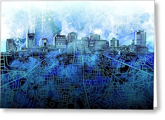 Nashville Skyline Watercolor 3 Greeting Card
