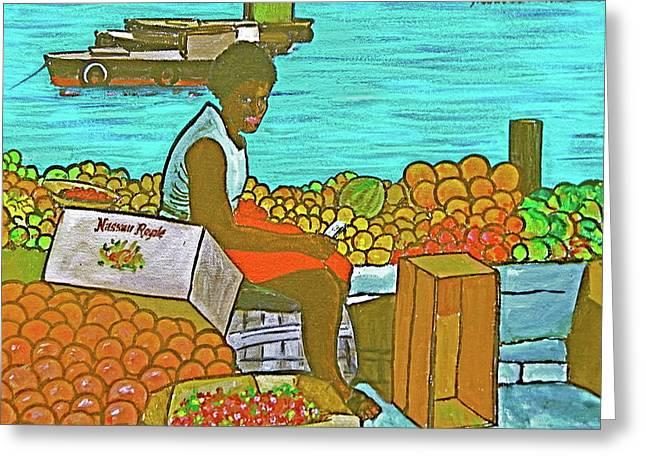 Nassau Fruit Seller Greeting Card by Frank Hunter