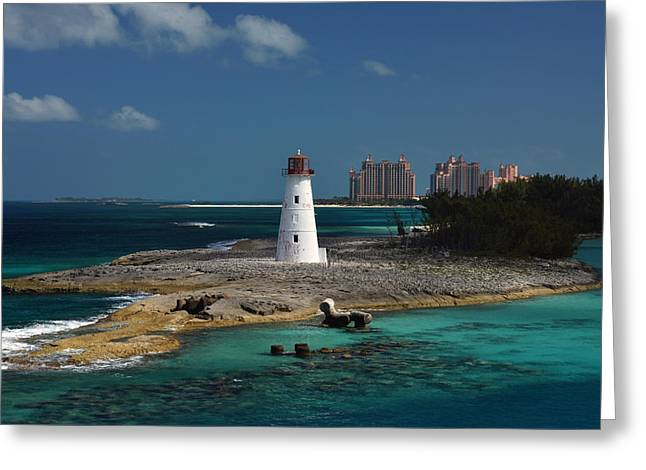 Greeting Card featuring the photograph Nassau Harbour Lighthouse by Bill Swartwout