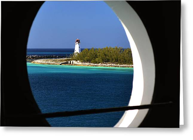 Nassau Lighthouse Porthole View Greeting Card by Bill Swartwout Photography