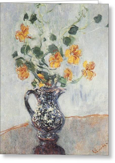 Nasturtiums In A Blue Vase Greeting Card