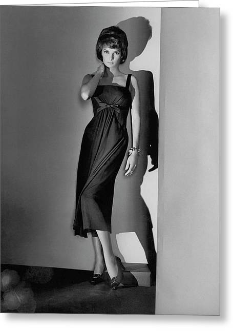 Natalie Fell Cushing Wearing A Dress Greeting Card by Horst P. Horst