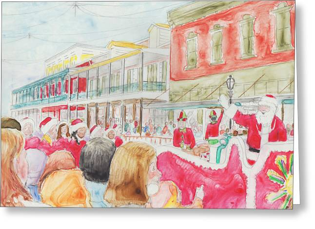 Natchitoches Christmas Parade Greeting Card by Ellen Howell