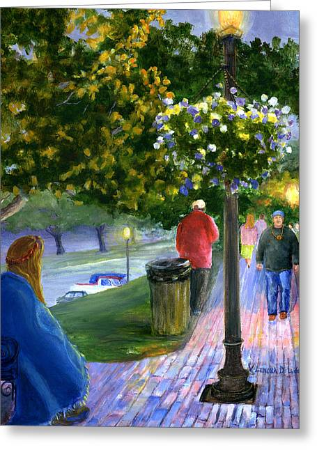 Greeting Card featuring the painting Natchitoches Front Street Cane River by Lenora  De Lude