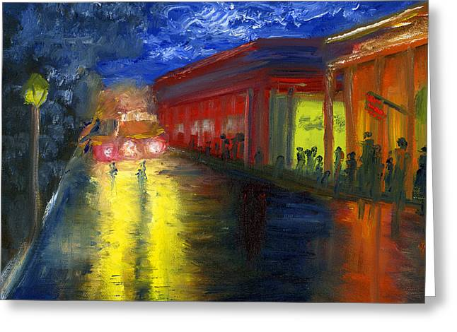 Greeting Card featuring the painting Natchitoches Louisiana Mardi Gras Parade At Night by Lenora  De Lude