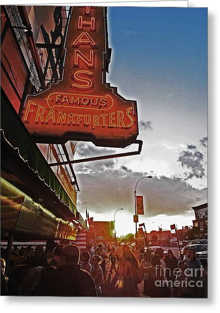 Greeting Card featuring the photograph Nathan's Famous Coney Island Sunset Frankfurters by Andy Prendy