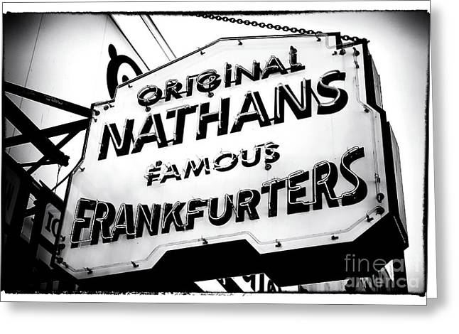 Nathans Famous Frankfurters Greeting Card by John Rizzuto