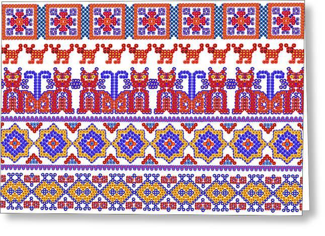 National Animal Floral  Patterns Greeting Card by Aleksandr Volkov
