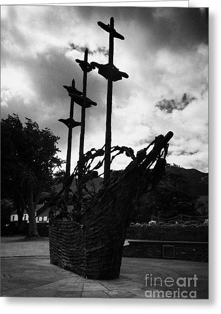 National Famine Memorial The Skeleton Ship By John Behan Beneath Croagh Patrick Mayo Ireland Greeting Card by Joe Fox