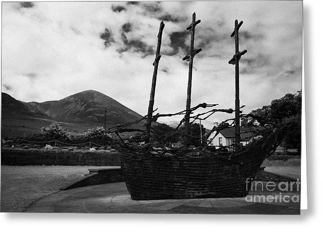 National Famine Memorial The Skeleton Ship By John Behan Beneath Croagh Patrick Mayo Greeting Card by Joe Fox