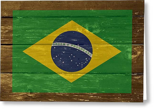 Brazil National Flag On Wood Greeting Card