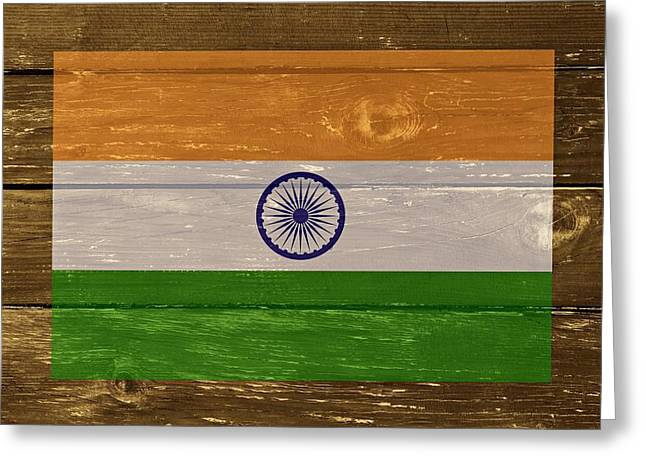 India National Flag On Wood Greeting Card by Movie Poster Prints