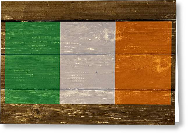 Ireland National Flag On Wood Greeting Card