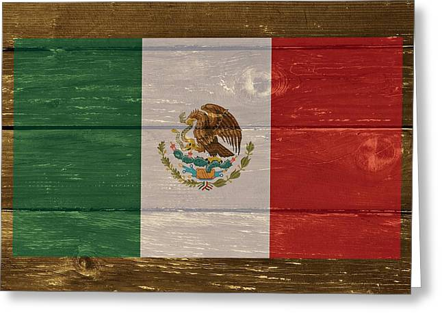Mexico National Flag On Wood Greeting Card by Movie Poster Prints