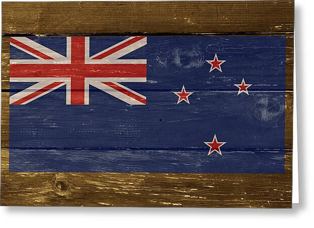 New Zealand National Flag On Wood Greeting Card by Movie Poster Prints