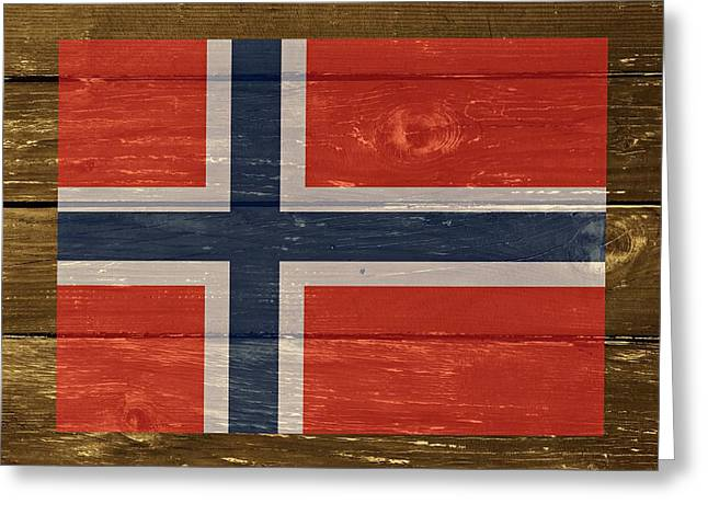 Norway National Flag On Wood Greeting Card by Movie Poster Prints