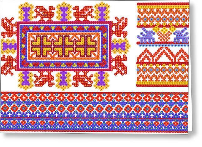 National  Peoples Shirts Patterns Greeting Card by Aleksandr Volkov
