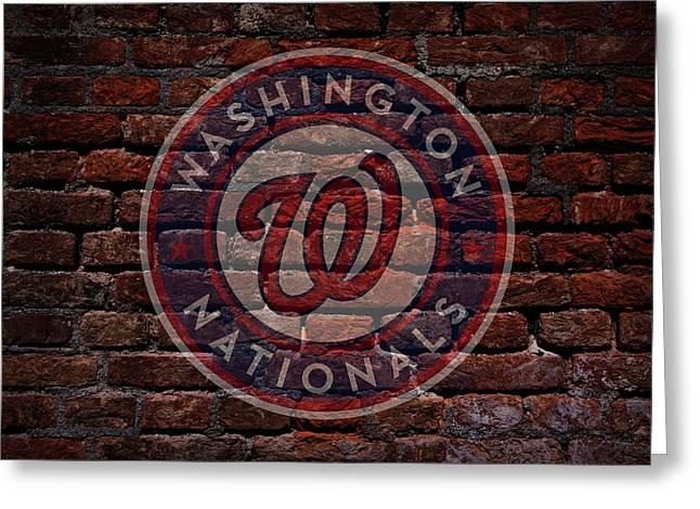 Nationals Baseball Graffiti On Brick  Greeting Card