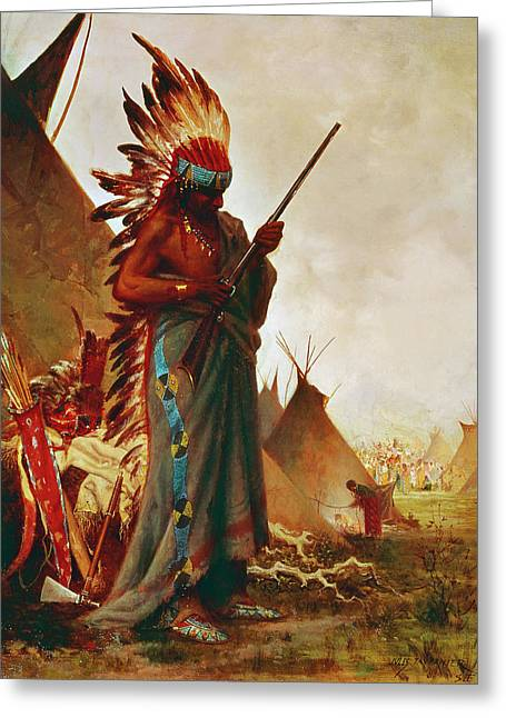 Native American And Rifle Greeting Card