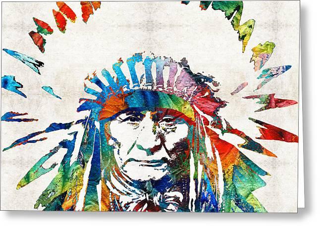 Native American Art - Chief - By Sharon Cummings Greeting Card