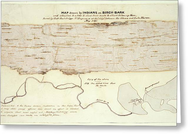 Native American Birch-bark Map Greeting Card by British Library