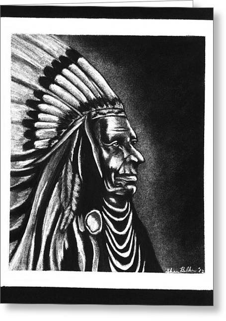 Native American Chief Greeting Card by Sheena Pape
