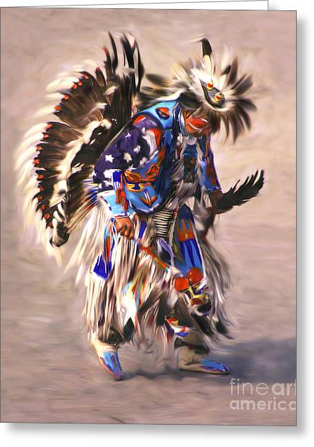 Native American Dancer Greeting Card by Clare VanderVeen